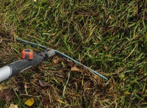 Rak hele plenen med en jernrive. Da fjerner du mye mose og dødt organisk materiale som 'tetter' plenen, og slipper til luft.