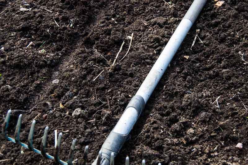 Bruk feks riveskaftet for å lage noen rette linjer du kan plante etter.